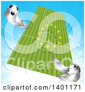Floating Soccer Pitch With A Ring Of European Stars And Flying Winged Balls