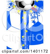 Soccer Ball Over A Grungy French Pattern With European Stars