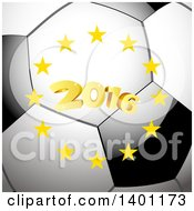 Circle Of Stars Around Golden 2016 On A Soccer Ball