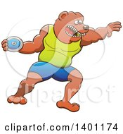 Sporty Athletic Track And Field Bear Performing The Discus Throw