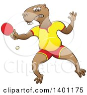 Clipart Of A Sporty Athletic Capybara Playing Table Tennis Ping Pong Royalty Free Vector Illustration by Zooco