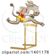 Clipart Of A Sporty Athletic Track And Field Donkey Running And Leaping Over A Hurdle Royalty Free Vector Illustration