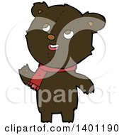 Clipart Of A Cartoon Brown Teddy Bear Wearing A Scarf Royalty Free Vector Illustration