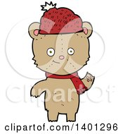 Clipart Of A Cartoon Brown Teddy Bear Wearing A Winter Hat And Scarf Royalty Free Vector Illustration