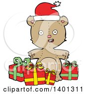 Cartoon Brown Christmas Teddy Bear