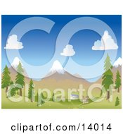 Small Mountain Village At The Foot Of Snow Capped Mountains In The Spring Or Summer Clipart Illustration