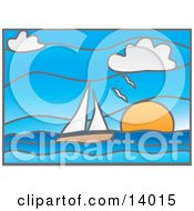 Stained Glass Window Of Seagulls Flying Over A Sailboat On The Ocean At Sunset Clipart Illustration by Rasmussen Images