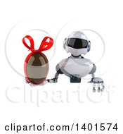 Clipart Of A 3d White And Blue Robot Holding A Chocolate Egg  On A White Background Royalty Free Illustration