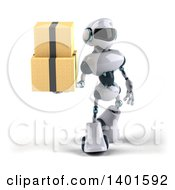 Clipart Of A 3d White And Blue Robot Holding A  On A White Background Royalty Free Illustration