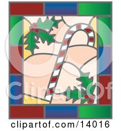 Christmas Stained Glass Window Of A Candy Cane And Holly