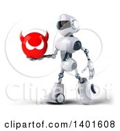 Clipart Of A 3d White And Blue Robot Holding A Devil Head On A White Background Royalty Free Illustration