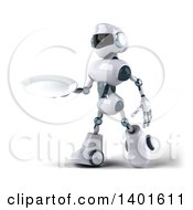 Clipart Of A 3d White And Blue Robot Holding A Plate On A White Background Royalty Free Illustration