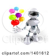 Clipart Of A 3d White And Blue Robot Holding Speech Balloons On A White Background Royalty Free Illustration by Julos