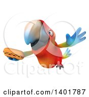 Clipart Of A 3d Scarlet Macaw Parrot On A White Background Royalty Free Illustration