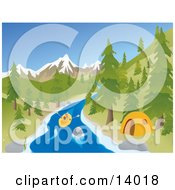 Active Young Couple Rafting Down A River Past A Tent At A Camp Site With Mountains In The Background Clipart Illustration