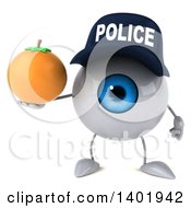 Clipart Of A 3d Blue Police Eyeball Character On A White Background Royalty Free Illustration