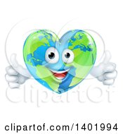 Clipart Of A Happy Earth Globe In The Shape Of A Heart Character Giving Two Thumbs Up Royalty Free Vector Illustration
