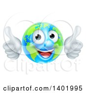 Clipart Of A Happy Globe Mascot Giving Two Thumbs Up Royalty Free Vector Illustration