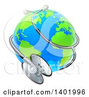 Clipart Of A World Earth Globe Wrapped In A Stethoscope Royalty Free Vector Illustration