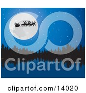 Santa His Sleigh And Reindeer In Silhouette While Passing In Front Of A Full Moon Over A Still Lake And Forest On The Night Before Christmas Clipart Illustration by Rasmussen Images