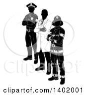 Clipart Of A Faceless Black And White Male Doctor Police Man And Fire Fighter Standing With Folded Arms Royalty Free Vector Illustration