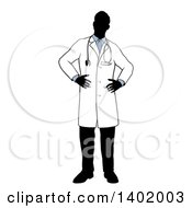 Clipart Of A Faceless Silhouetted Male Doctor Wearing A Lab Coat Standing With Hands On His Hips Royalty Free Vector Illustration by AtStockIllustration