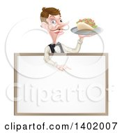 Cartoon Caucasian Male Waiter With A Curling Mustache Holding A Kebab Sandwich On A Tray Pointing Down Over A Blank Sign