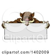 Clipart Of A Cartoon Muscular Brown Razorback Boar Mascot Holding A Blank Sign Royalty Free Vector Illustration