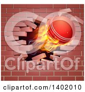 3d Flying And Blazing Cricket Ball Breaking Through A Brick Wall