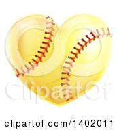 Clipart Of A Softball In The Shape Of A Heart Royalty Free Vector Illustration by AtStockIllustration