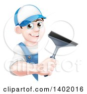 Clipart Of A Happy Young Brunette Caucasian Window Cleaner Man In Blue Holding A Squeegee Around A Sign Royalty Free Vector Illustration