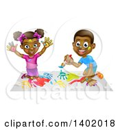 Clipart Of A Cartoon Happy Black Girl And Boy Kneeling And Painting Artwork Royalty Free Vector Illustration