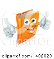 Clipart Of A Happy Orange Book Character Smiling And Holding Two Thumbs Up Royalty Free Vector Illustration