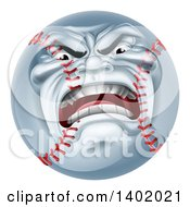Clipart Of A Furious Baseball Character Mascot Royalty Free Vector Illustration