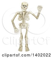 Clipart Of A Cartoon Happy Skeleton Waving Royalty Free Vector Illustration by AtStockIllustration