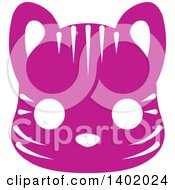 Clipart Of A Cute Purple Tiger Animal Face Avatar Or Icon Royalty Free Vector Illustration
