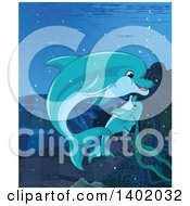 Clipart Of A Cute Baby Dolphin And Mother Swimming Underwater Royalty Free Vector Illustration by Pushkin