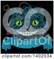Clipart Of A Cheshire Cat Alicen In Wonderland Face Over Cards Rose Clock And Tea Cup With A Blank Banner On Black Royalty Free Vector Illustration