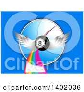 Clipart Of A 3d Winged Eight Ball Flying Over A Rainbow And Circle On Blue With Text Space Royalty Free Vector Illustration