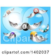 Poster, Art Print Of 3d Flying Winged Bingo Balls And An Eight Ball Against A Blue Sky