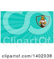 Cartoon Refrigeration And Air Conditioning Mechanic Leopard Holding A Pressure Temperature Gauge And Monkey Wrench And Turquoise Rays Background Or Business Card Design