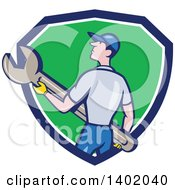 Clipart Of A Retro Cartoon White Handy Man Or Mechanic Holding A Spanner Wrench In A Blue White And Green Shield Royalty Free Vector Illustration by patrimonio