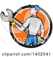 Clipart Of A Retro Cartoon White Handy Man Or Mechanic Holding A Spanner Wrench In A Black White And Orange Circle Royalty Free Vector Illustration