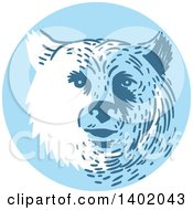 Clipart Of A Retro Bear Head In A Blue Circle Royalty Free Vector Illustration