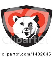 Clipart Of A Retro Grizzly Bear Head In A Black And Red Shield Royalty Free Vector Illustration