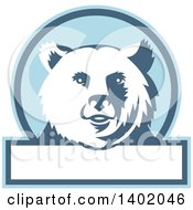 Clipart Of A Retro Grizzly Bear Head In A Blue And White Circle With Text Space Royalty Free Vector Illustration by patrimonio