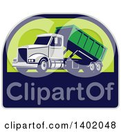Clipart Of A Retro Roll Off Bin Dump Truck In A Half Circle Royalty Free Vector Illustration