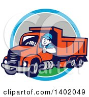 Clipart Of A Retro Male Dump Truck Driver Giving A Thumb Up Over A Blue White And Gray Circle Royalty Free Vector Illustration