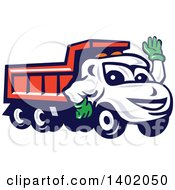 Clipart Of A Cartoon Red Dump Truck Mascot Waving Royalty Free Vector Illustration by patrimonio
