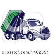 Clipart Of A Retro Roll Off Bin Dump Truck Royalty Free Vector Illustration by patrimonio